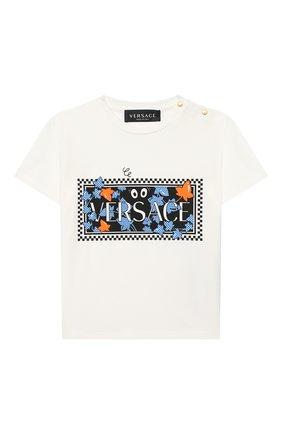 Детский хлопковая футболка VERSACE белого цвета, арт. YB000183/YA00019 | Фото 1