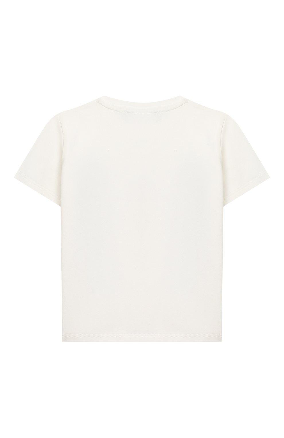 Детский хлопковая футболка VERSACE белого цвета, арт. YB000183/YA00019   Фото 2