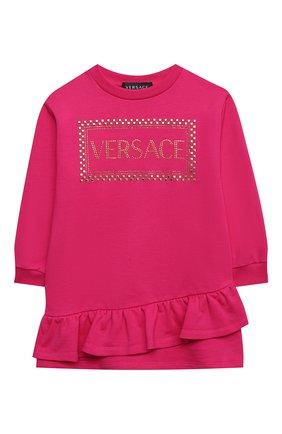 Детское хлопковое платье VERSACE фуксия цвета, арт. YC000341/YA00078/4A-6A | Фото 1