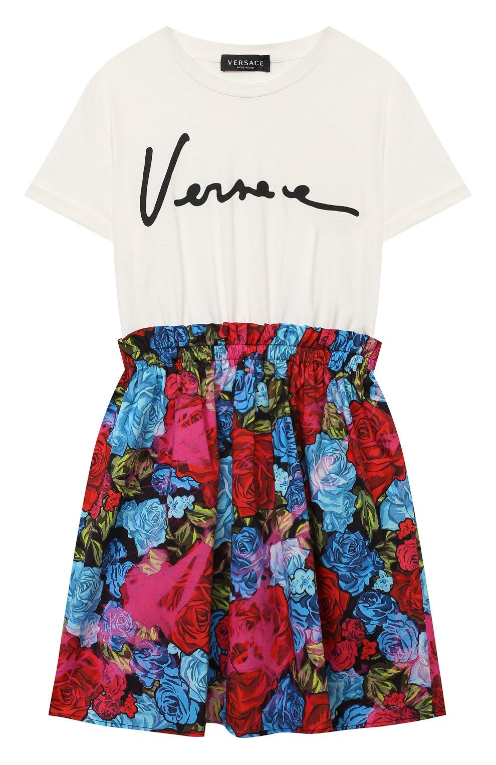 Детское хлопковое платье VERSACE разноцветного цвета, арт. YC000414/YA00079/8A-14A   Фото 1