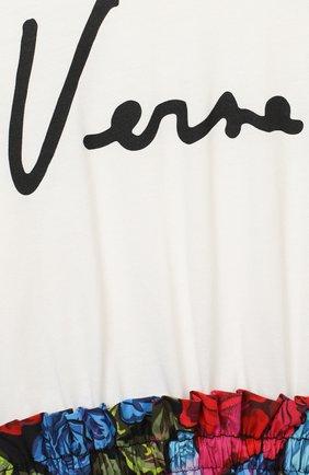 Детское хлопковое платье VERSACE разноцветного цвета, арт. YC000414/YA00079/8A-14A   Фото 3