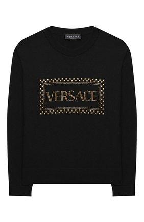 Детский пуловер VERSACE черного цвета, арт. YC000449/A236515/8A-14A | Фото 1