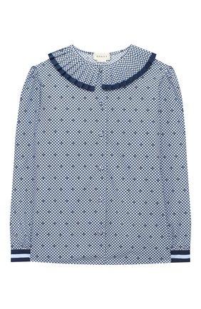 Детское хлопковая блузка GUCCI синего цвета, арт. 623549/ZAE67   Фото 1