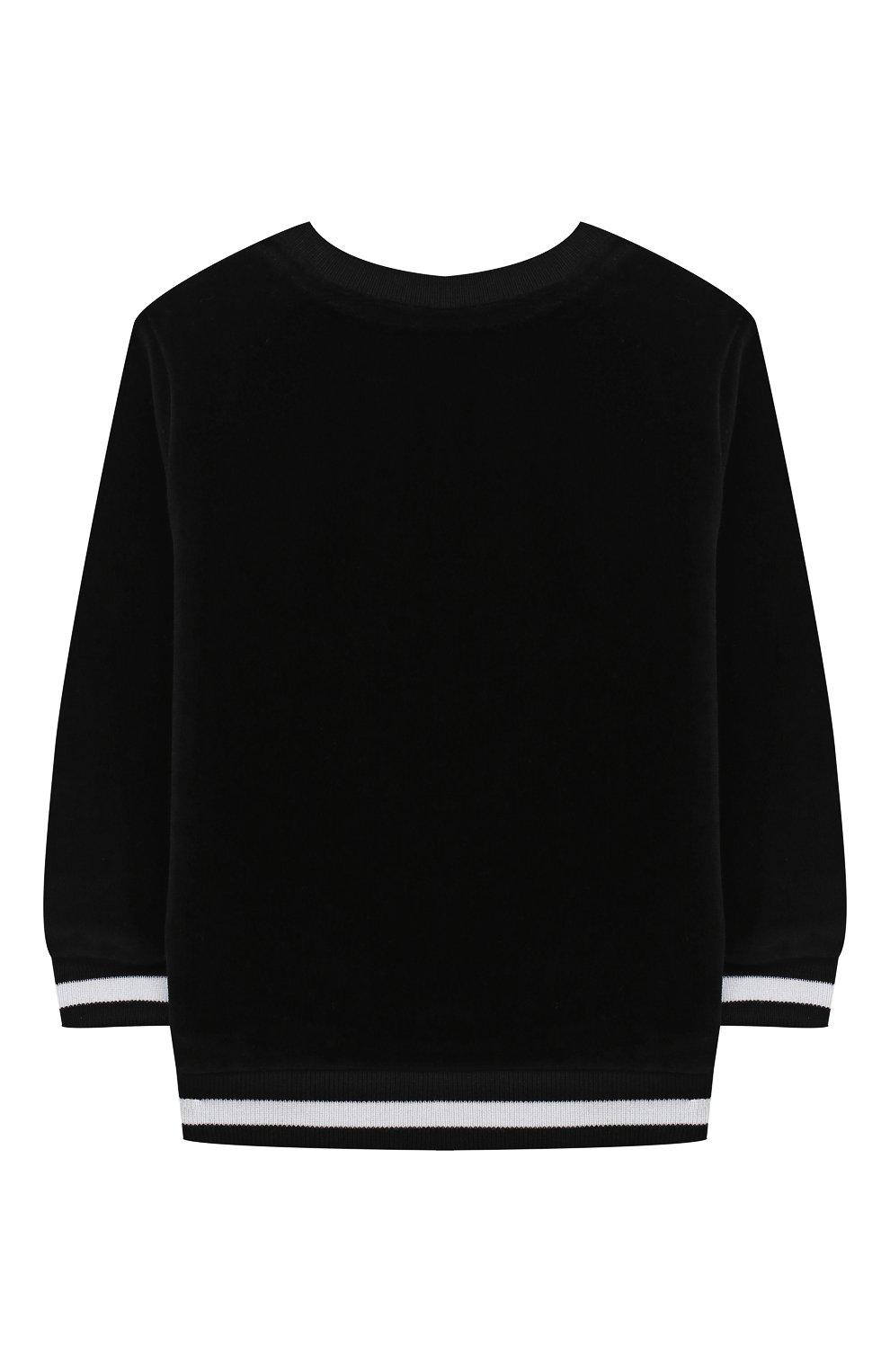 Детский хлопковый свитшот BALMAIN черного цвета, арт. 6N4830/NB430/12-36M   Фото 2