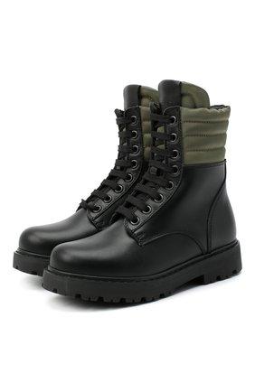 Детские кожаные ботинки FENDI черного цвета, арт. JMR337/AD7G/27-31 | Фото 1