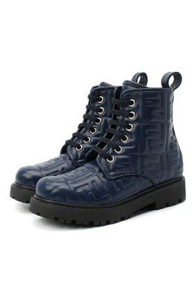 Детские кожаные ботинки FENDI темно-синего цвета, арт. JMR338/AADS/27-31 | Фото 1