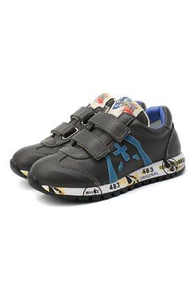 Детские кожаные кроссовки PREMIATA WILL BE серого цвета, арт. LUCY V/11-21312/CHILD | Фото 1 (Материал внутренний: Натуральная кожа; Кросс-КТ: велькро; Стили: Гранж)