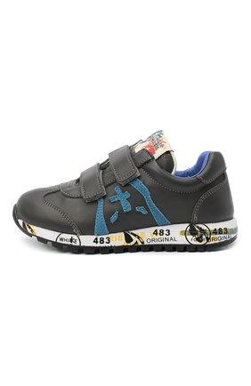 Детские кожаные кроссовки PREMIATA WILL BE серого цвета, арт. LUCY V/11-21312/CHILD | Фото 2 (Материал внутренний: Натуральная кожа; Кросс-КТ: велькро; Стили: Гранж)