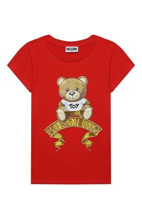 Детская хлопковая футболка MOSCHINO красного цвета, арт. HIM020/LBA11/10A-14A | Фото 1