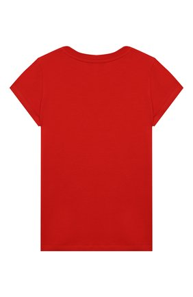 Детская хлопковая футболка MOSCHINO красного цвета, арт. HIM020/LBA11/10A-14A | Фото 2