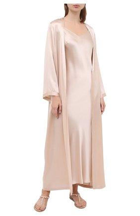 Женская шелковая сорочка MARJOLAINE светло-бежевого цвета, арт. ODANA | Фото 2