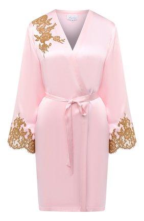 Женский шелковый халат MARJOLAINE светло-розового цвета, арт. 3GEM2001 | Фото 1