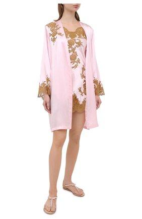 Женский шелковый халат MARJOLAINE светло-розового цвета, арт. 3GEM2001 | Фото 2