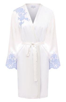 Женский шелковый халат MARJOLAINE белого цвета, арт. 3GEM2001 | Фото 1