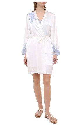 Женский шелковый халат MARJOLAINE белого цвета, арт. 3GEM2001 | Фото 2