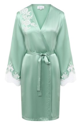 Женский шелковый халат MARJOLAINE светло-зеленого цвета, арт. 3GEM2001 | Фото 1