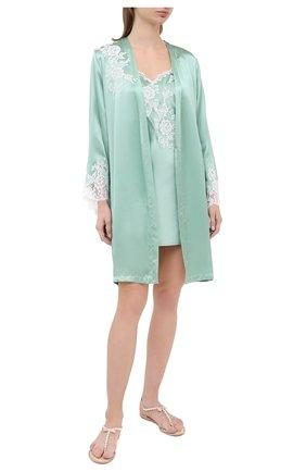 Женский шелковый халат MARJOLAINE светло-зеленого цвета, арт. 3GEM2001 | Фото 2