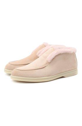 Женские замшевые ботинки open walk LORO PIANA розового цвета, арт. FAG3602 | Фото 1