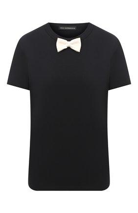Женская хлопковая футболка VIKA GAZINSKAYA черного цвета, арт. FW20-1282 | Фото 1