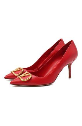 Женская кожаные туфли valentino garavani vlogo VALENTINO красного цвета, арт. UW2S0R78/DSH | Фото 1