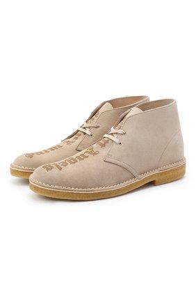 Мужские замшевые ботинки PALM ANGELS бежевого цвета, арт. PMIA050E20LEA0021717 | Фото 1