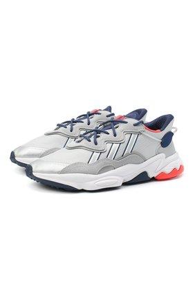 Мужские комбинированные кроссовки ozweego ADIDAS ORIGINALS светло-серого цвета, арт. FV9650 | Фото 1