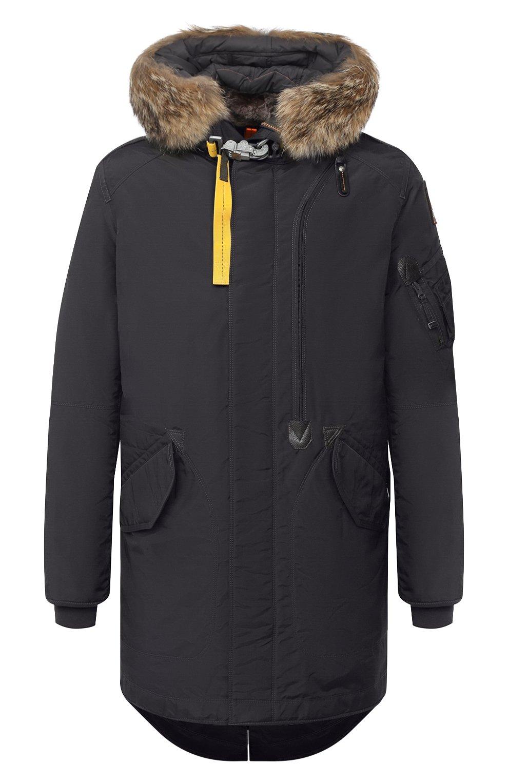 Мужская пуховая парка tank с меховой отделкой PARAJUMPERS темно-серого цвета, арт. MA07/TANK   Фото 1 (Кросс-КТ: Куртка, Пуховик; Мужское Кросс-КТ: пуховик-короткий, Пуховик-верхняя одежда, Верхняя одежда; Рукава: Длинные; Длина (верхняя одежда): До середины бедра; Материал внешний: Синтетический материал; Стили: Спорт-шик; Материал подклада: Синтетический материал; Материал утеплителя: Пух и перо)