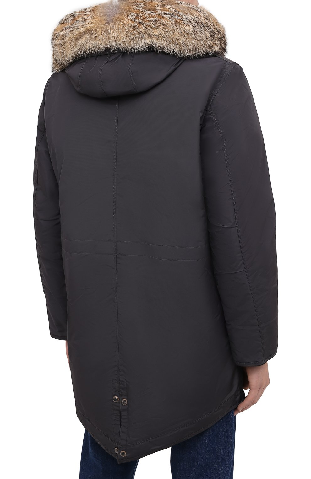 Мужская пуховая парка tank с меховой отделкой PARAJUMPERS темно-серого цвета, арт. MA07/TANK   Фото 5 (Кросс-КТ: Куртка, Пуховик; Мужское Кросс-КТ: пуховик-короткий, Пуховик-верхняя одежда, Верхняя одежда; Рукава: Длинные; Длина (верхняя одежда): До середины бедра; Материал внешний: Синтетический материал; Стили: Спорт-шик; Материал подклада: Синтетический материал; Материал утеплителя: Пух и перо)