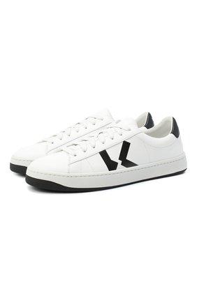 Мужские кожаные кеды KENZO белого цвета, арт. FA65SN170L50 | Фото 1 (Материал внутренний: Натуральная кожа, Текстиль; Подошва: Плоская)