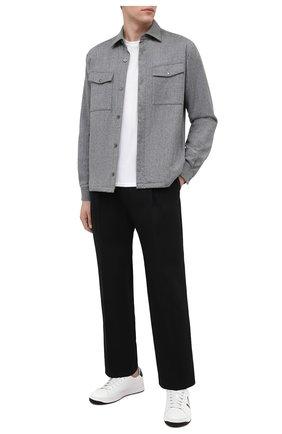 Мужские кожаные кеды KENZO белого цвета, арт. FA65SN172L50 | Фото 2 (Подошва: Массивная; Материал внутренний: Текстиль, Натуральная кожа)