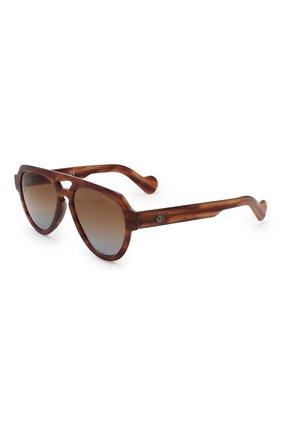 Мужские солнцезащитные очки MONCLER коричневого цвета, арт. ML 0094 54E 54 С/З ОЧКИ | Фото 1