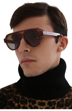 Мужские солнцезащитные очки MONCLER коричневого цвета, арт. ML 0094 54E 54 С/З ОЧКИ | Фото 2