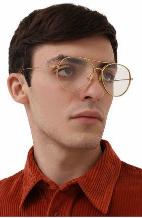 Мужские солнцезащитные очки MONCLER золотого цвета, арт. ML 0121 030 57 С/З ОЧКИ   Фото 2