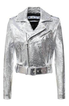 Женская кожаная куртка OFF-WHITE серебряного цвета, арт. 0WJG002F20LEA0010901 | Фото 1