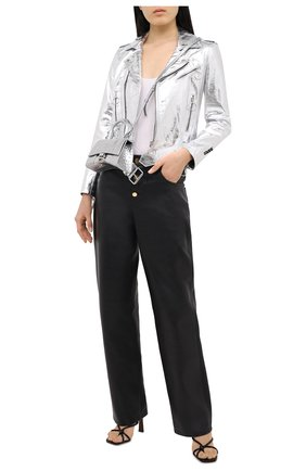 Женская кожаная куртка OFF-WHITE серебряного цвета, арт. 0WJG002F20LEA0010901 | Фото 2