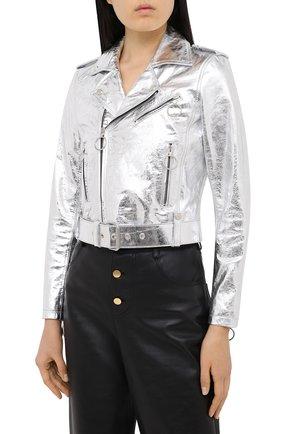Женская кожаная куртка OFF-WHITE серебряного цвета, арт. 0WJG002F20LEA0010901 | Фото 4