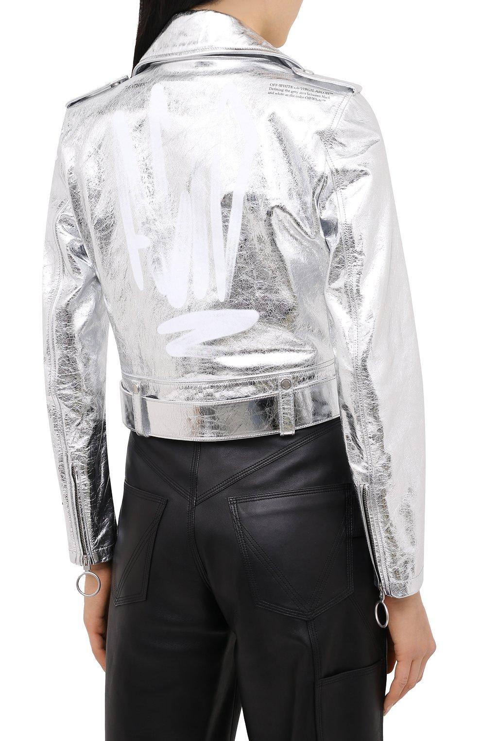 Женская кожаная куртка OFF-WHITE серебряного цвета, арт. 0WJG002F20LEA0010901 | Фото 5