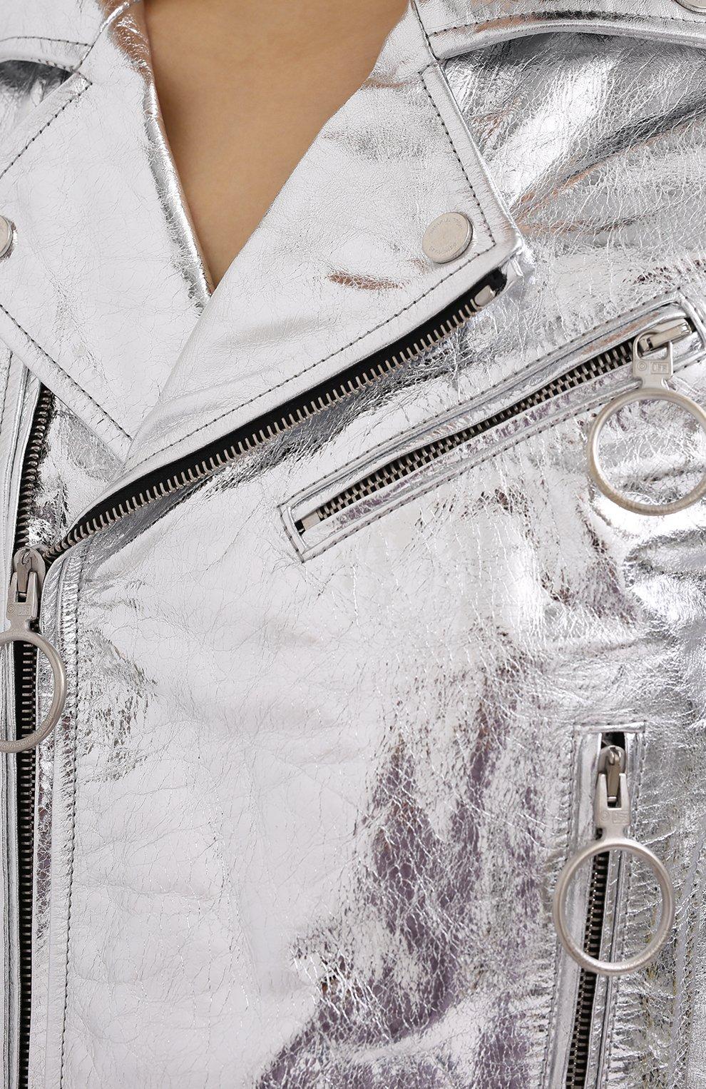 Женская кожаная куртка OFF-WHITE серебряного цвета, арт. 0WJG002F20LEA0010901 | Фото 6