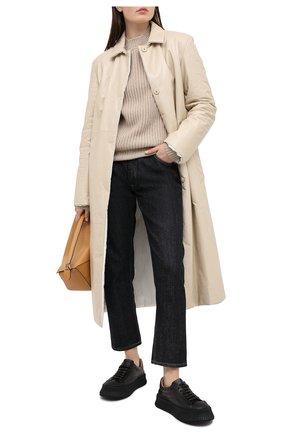 Женские кожаные кеды JIL SANDER черного цвета, арт. JS32108A-12020   Фото 2
