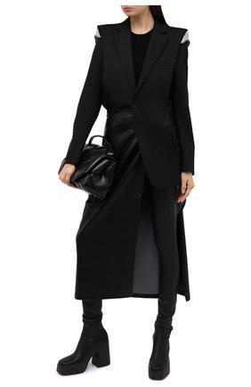 Женские кожаные леггинсы JOSEPH черного цвета, арт. JF005125 | Фото 2