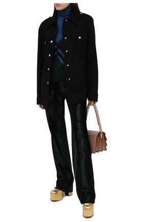 Женские брюки из вискозы и хлопка DRIES VAN NOTEN зеленого цвета, арт. 202-10925-1250 | Фото 2
