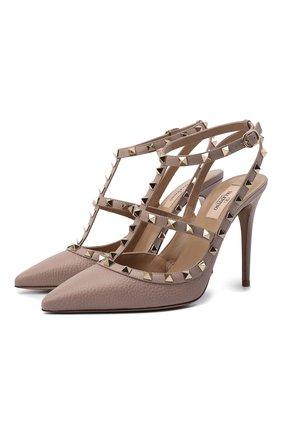Женская кожаные туфли valentino garavani rockstud VALENTINO бежевого цвета, арт. UW2S0393/VCE   Фото 1
