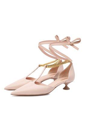 Женские кожаные туфли BURBERRY бежевого цвета, арт. 8031530   Фото 1 (Каблук высота: Низкий; Подошва: Плоская; Материал внутренний: Натуральная кожа; Каблук тип: Фигурный)