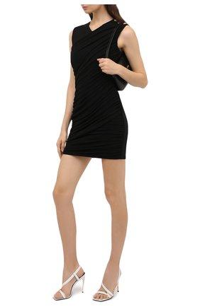Женские кожаные босоножки VERSACE белого цвета, арт. DST408P/DVTZP | Фото 2 (Материал внутренний: Натуральная кожа; Подошва: Плоская; Каблук тип: Шпилька; Каблук высота: Высокий)