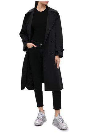 Женские текстильные кроссовки chain reaction VERSACE серебряного цвета, арт. DSR705G/D10TCG | Фото 2 (Подошва: Платформа; Материал внешний: Текстиль; Материал внутренний: Текстиль)