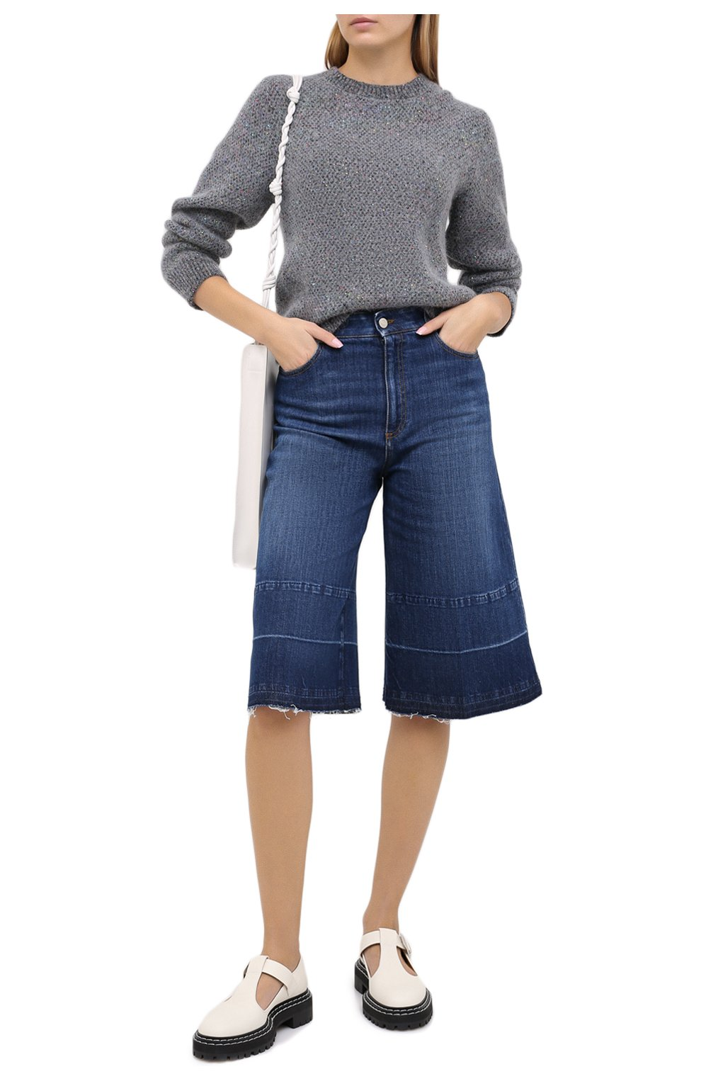 Женские джинсовые шорты STELLA MCCARTNEY синего цвета, арт. 601800/S0H01 | Фото 2 (Женское Кросс-КТ: Шорты-одежда; Кросс-КТ: Деним, Широкие; Материал внешний: Хлопок; Длина Ж (юбки, платья, шорты): Миди)