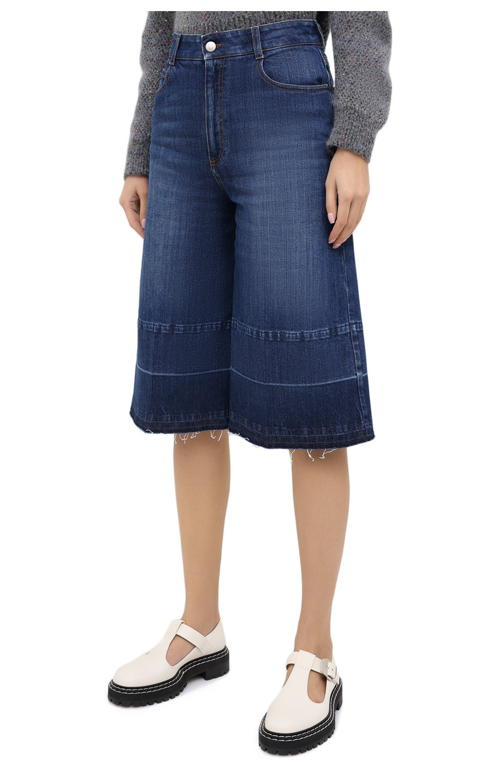 Женские джинсовые шорты STELLA MCCARTNEY синего цвета, арт. 601800/S0H01 | Фото 3 (Женское Кросс-КТ: Шорты-одежда; Кросс-КТ: Деним, Широкие; Материал внешний: Хлопок; Длина Ж (юбки, платья, шорты): Миди)