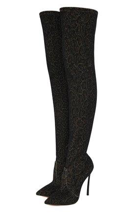 Женские текстильные ботфорты CASADEI коричневого цвета, арт. 1T927N120TECHIDZZZZ | Фото 1