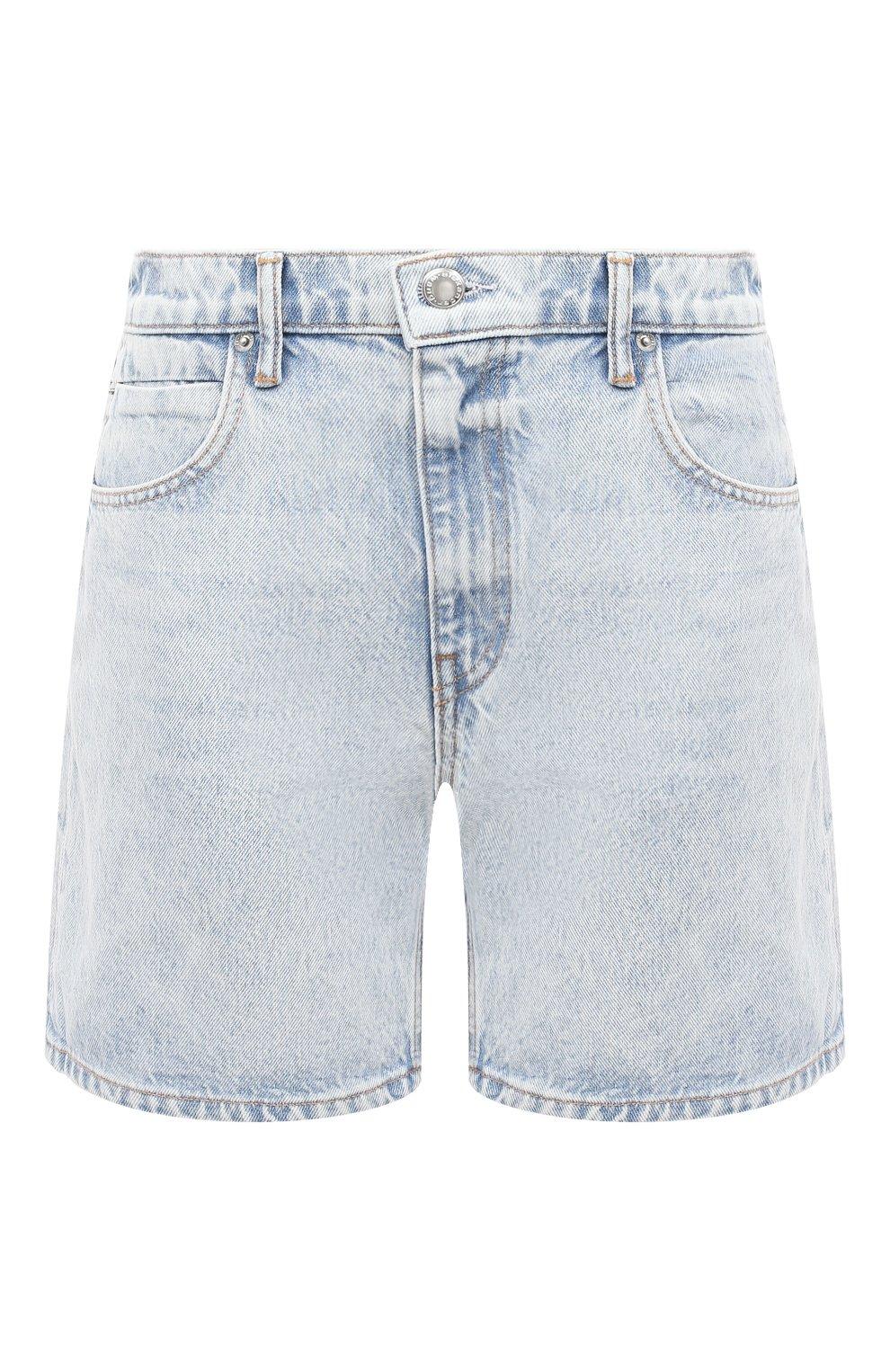 Женские джинсовые шорты DENIM X ALEXANDER WANG голубого цвета, арт. 4DC2204720   Фото 1 (Женское Кросс-КТ: Шорты-одежда; Кросс-КТ: Деним; Длина Ж (юбки, платья, шорты): Мини; Материал внешний: Хлопок)