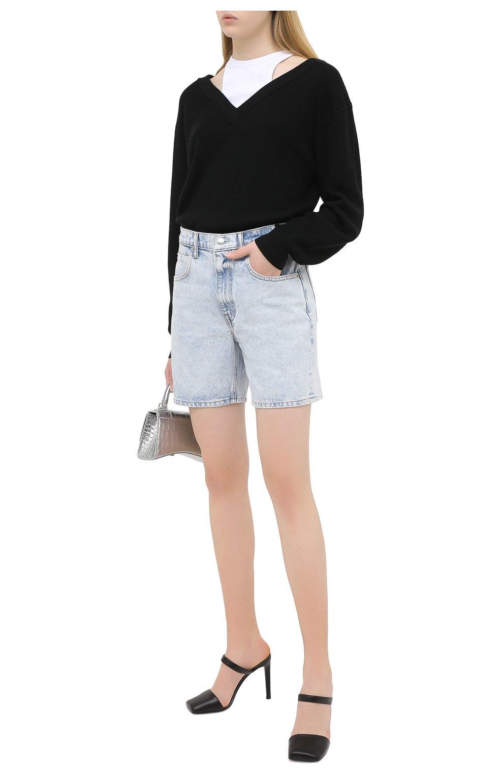 Женские джинсовые шорты DENIM X ALEXANDER WANG голубого цвета, арт. 4DC2204720   Фото 2 (Женское Кросс-КТ: Шорты-одежда; Кросс-КТ: Деним; Длина Ж (юбки, платья, шорты): Мини; Материал внешний: Хлопок)